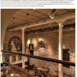 Diseño y decoracion de restaurante La puntaul Iluminacion anglepoise texto