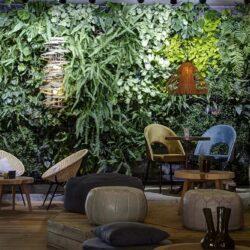 Mobiliario bar con sillas tapizadas