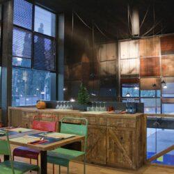 Restaurante pizzería Los Soprano, detalle de mueble de camareros