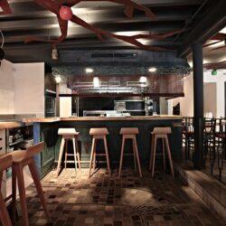 Restaurante diseño moderno, vista a la barra