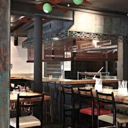 vista hacia la cocina, bar de tapas moderno