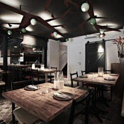 Vista del salón Planta baja bar de tapas moderno Ombú